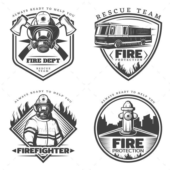 Vintage Firefighting Emblems Set