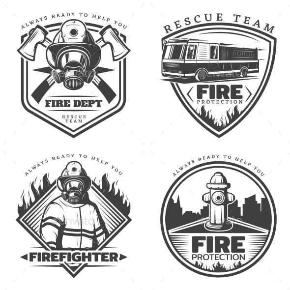 Vintage Firefighting Emblems Set - Decorative Symbols Decorative