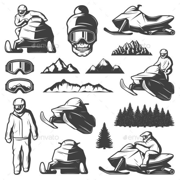 Vintage Winter Sport Elements Collection