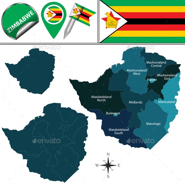 Map of Zimbabwe with Named Provinces