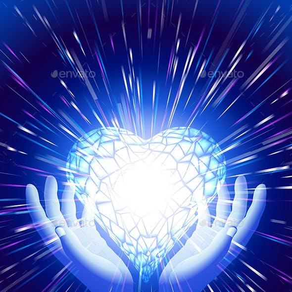 Heart Hand Light Beam Magic Power Love Background Blue