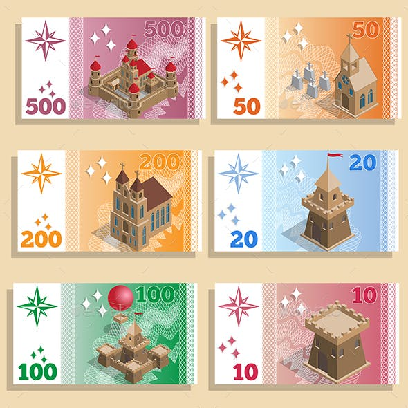 Set of Game Money with Architectural Structures