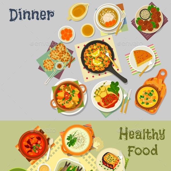 Healthy Vegetarian and Baked Fish Dishes Icon Set