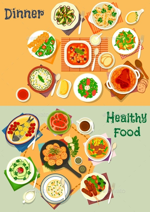 Healthy Lunch and Dinner Food Icon Set Design - Food Objects