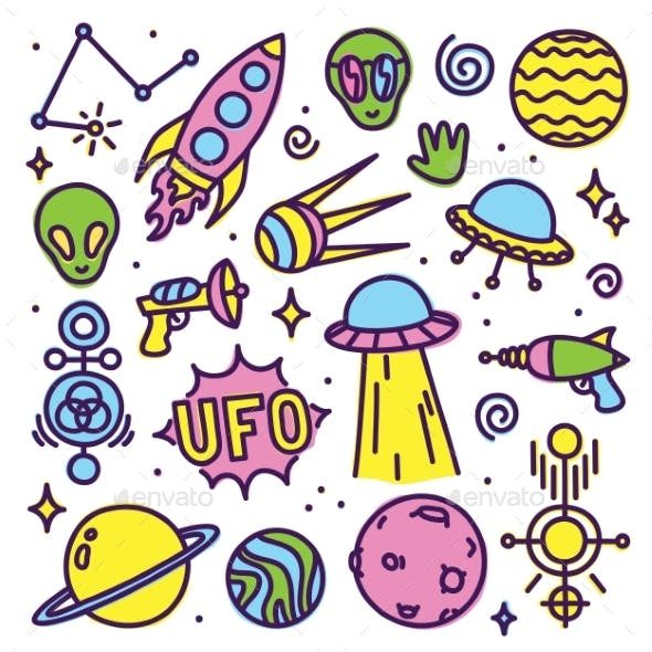 Hand Drawn Cartoon Alien Space Set