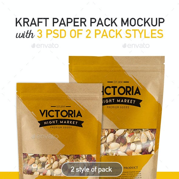 Kraft Pouch Bag Packaging Mockup