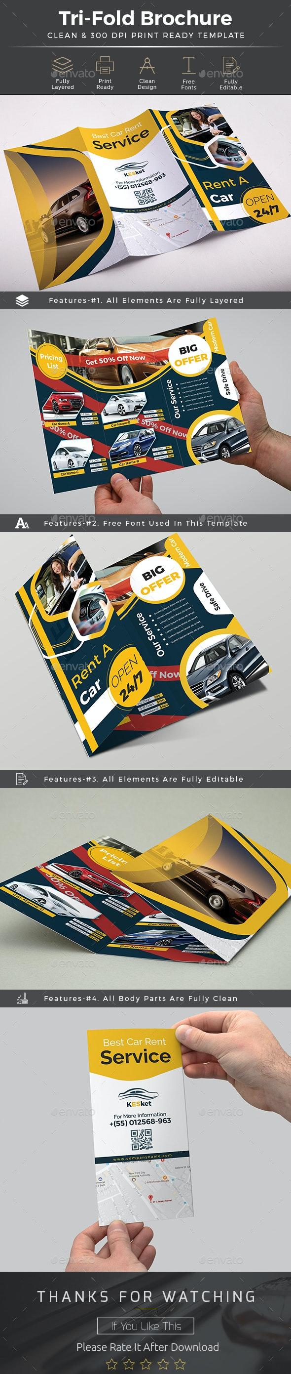 Rent a Car Trifold Brochure Template - Brochures Print Templates
