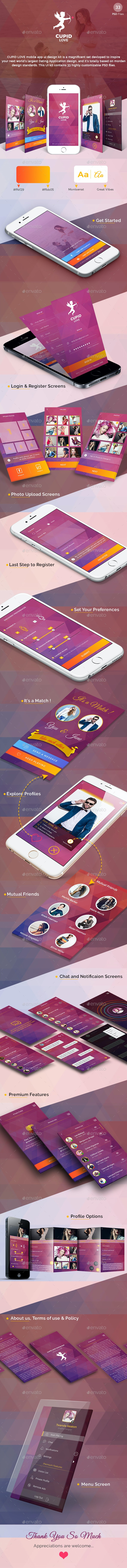 Cupid Love  - Dating App UI Kit - User Interfaces Web Elements