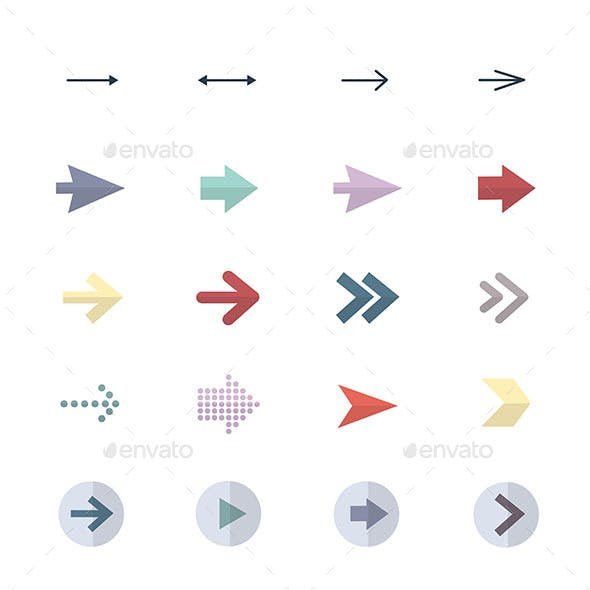 Arrow Icons Set Of Control Icons Vector Illustration Style Colorful Flat Icons