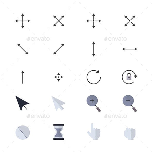 Arrows Icons and Mouse Pointer Set Of Web Internet Cursor Icons Style Colorful Flat Icons