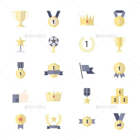 Award and Trophy Icon Ribbon Best Set Of Winner Sport Abstract Vector Color Icon Style Flat Icons