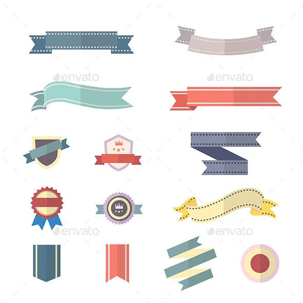 Banner and Ribbon Set Of Vector Illustration Style Colorful Flat Icons