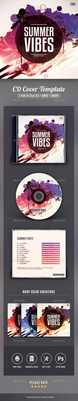 Summer Vibes CD Cover Artwork - CD & DVD Artwork Print Templates