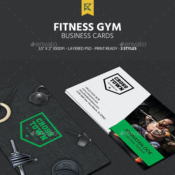 3 Fitness Gym Business Cards