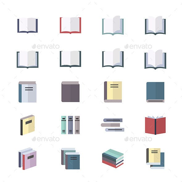 Book Icons Set Of Stationery Icons Vector Illustration Style Colorful Flat Icons