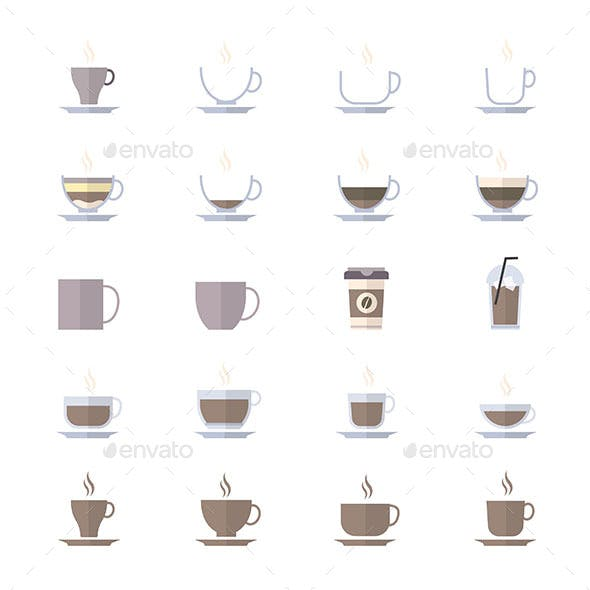 Coffee Cup Icons Set Of Drink Icons Vector Illustration Style Colorful Flat Icons