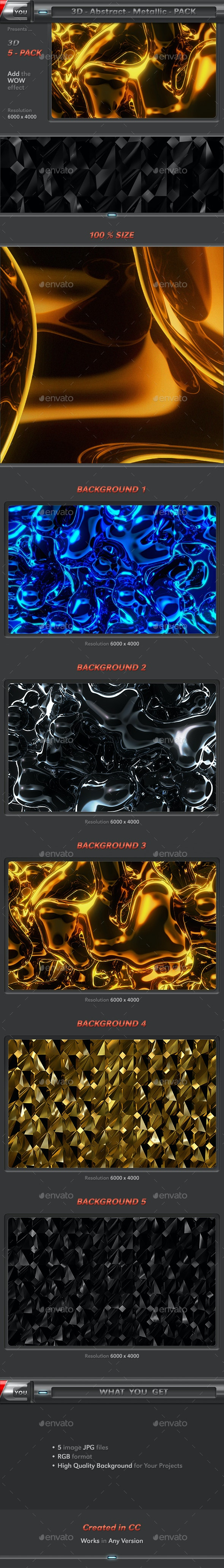 Abstract Metallic Pack - 3D Backgrounds