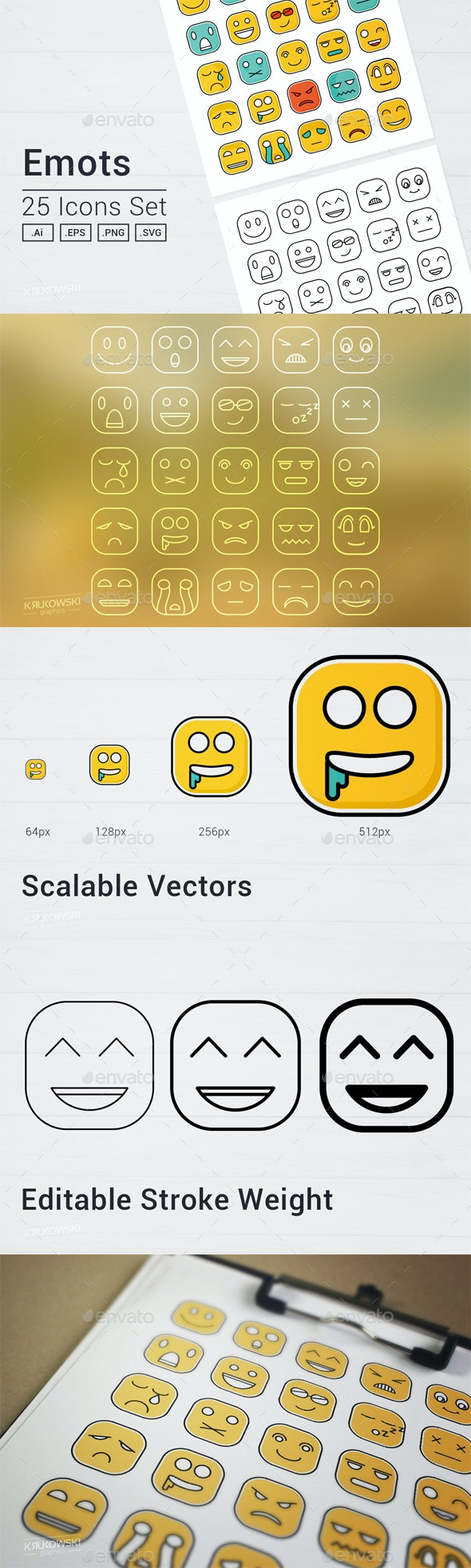 Square Emot Icons Set - People Characters