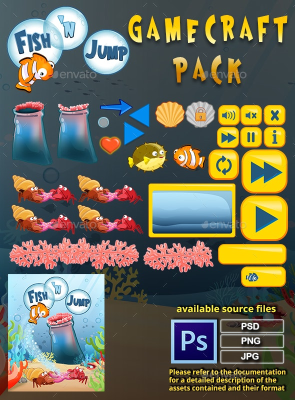 Fish 'n Jump Game Assets - Game Kits Game Assets