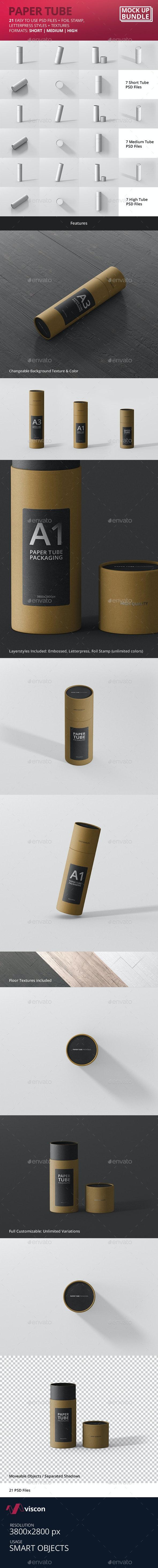 Slim Paper Tube Mockup Bundle - Miscellaneous Packaging