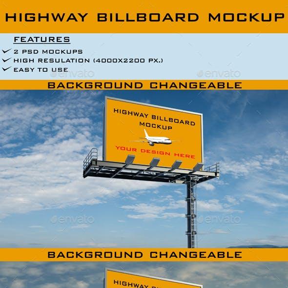 Realistic Highway Billboard Mockup