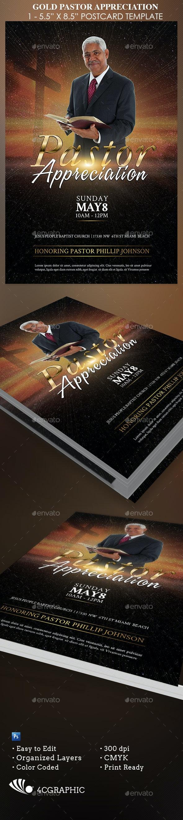 Gold Pastor Appreciation - Church Flyers