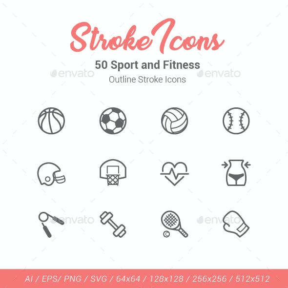 50 Sport and Fitness Outline Stroke Icons