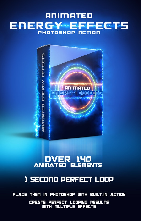 Animated Energy Effects Photoshop action from Graphicriver preview image