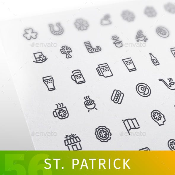 St. Patrick's Line Icons Set