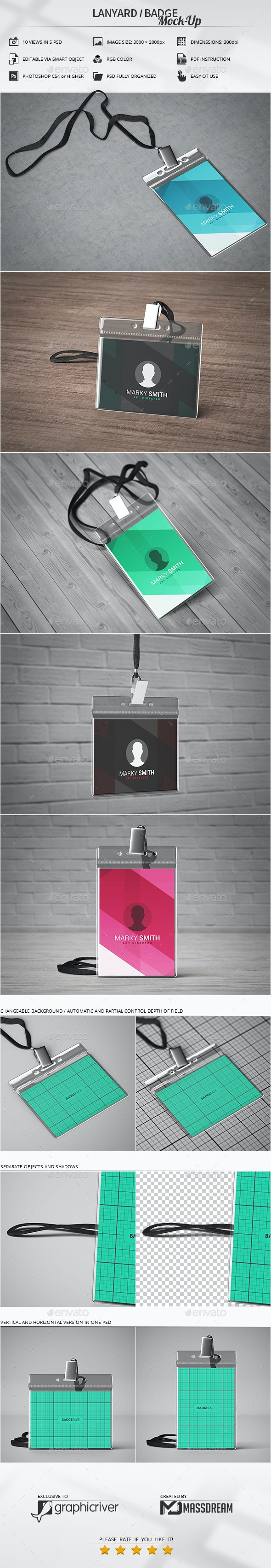 Lanyard / Badge Mock-Up - Product Mock-Ups Graphics