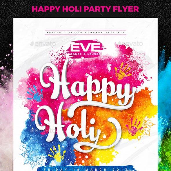 Happy Holi Party Flyer