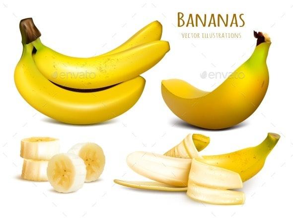 Ripe Yellow Bananas - Food Objects