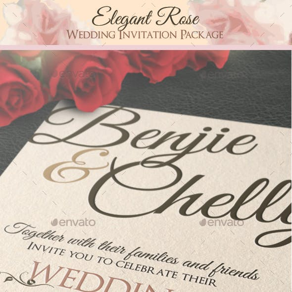 Elegant Rose Wedding Invitation Package