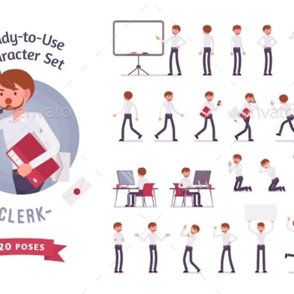 Ready-to-Use Business Male Clerk Character Set
