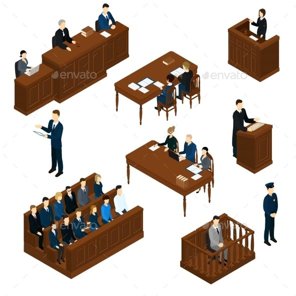 Isometric People Judicial System Set