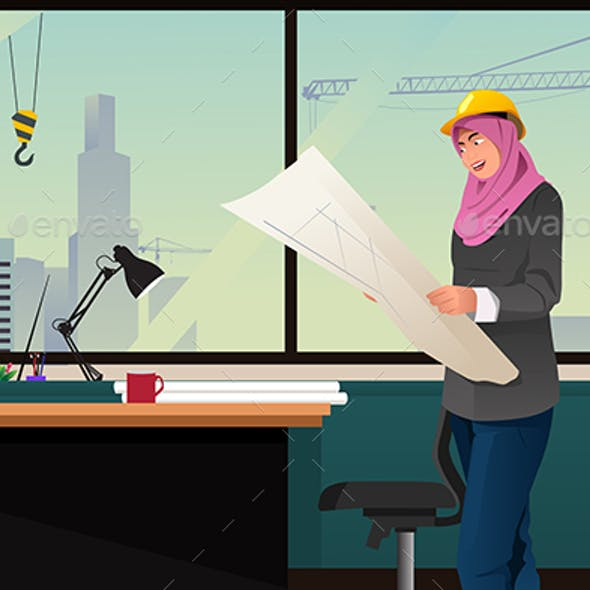 Muslim Woman Working in a Construction Office
