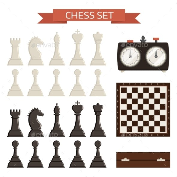 Chess Board and Chessmen Vector Isolated on White