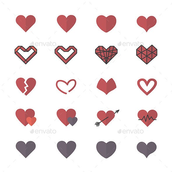 Red Heart Icons and Valentine Icons Set Of Vector Illustration Style Flat Icons