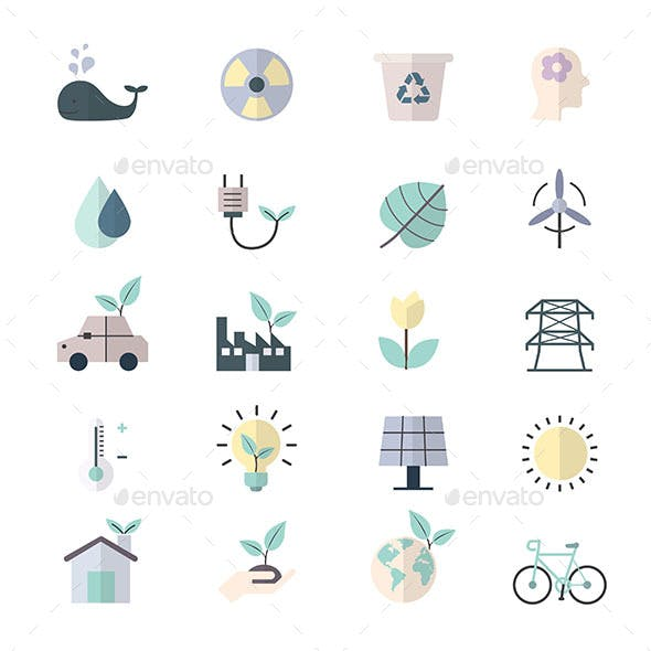 Eco Energy and Environment Icons Flat Color