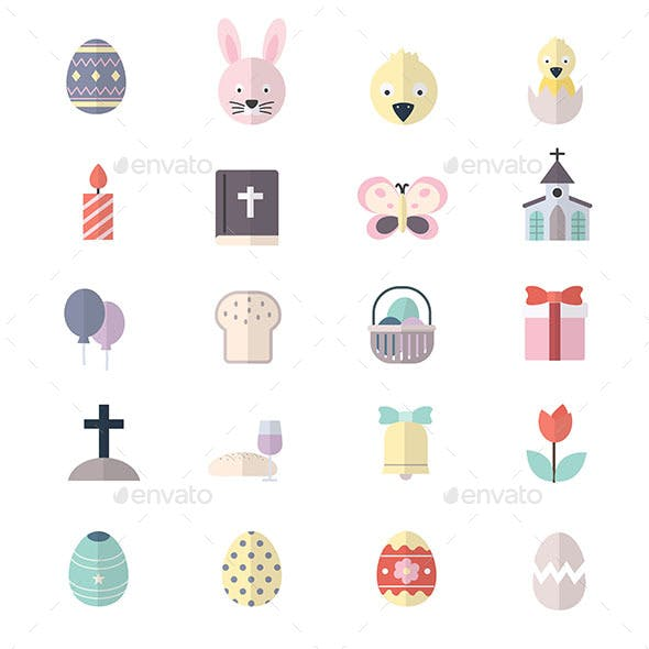 Happy Easter and Egg Icons Flat Color