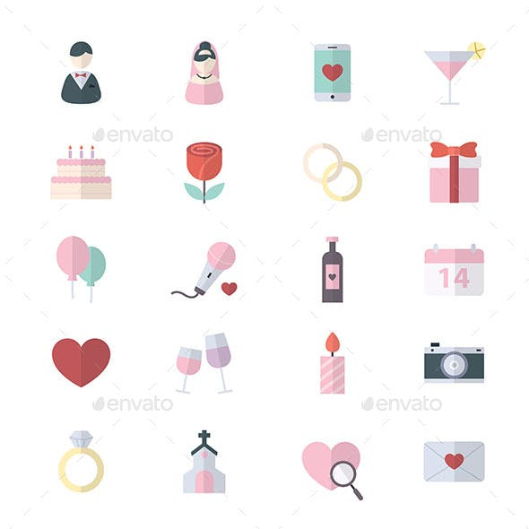 Sweet Valentine and Love Wedding Flat Color Icons