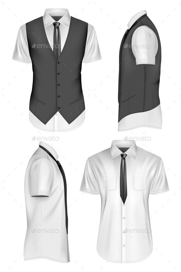 Men Short Sleeve Vector Illustration - Vectors