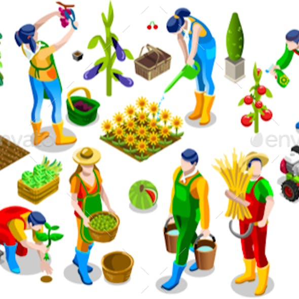 Isometric People Farmer 3D Icon Collection Vector Illustration
