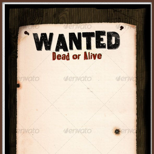 WANTED POSTER ON WOOD WALL