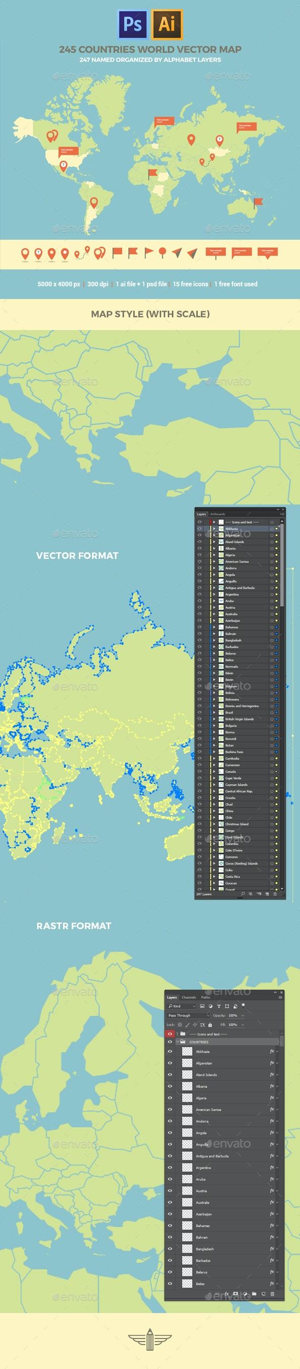 Layered World Map