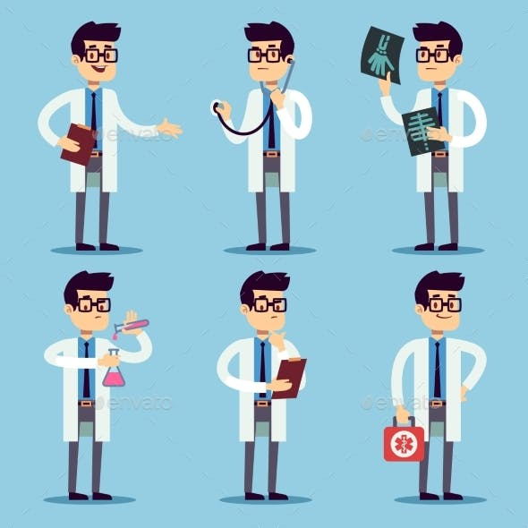 Doctor, Chemist, Pharmacist, Surgeon Man Cartoon