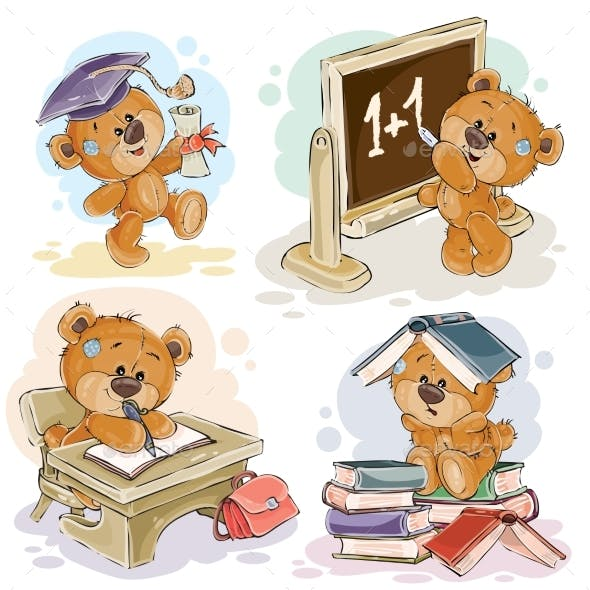 Set of Numbers with a Teddy Bear