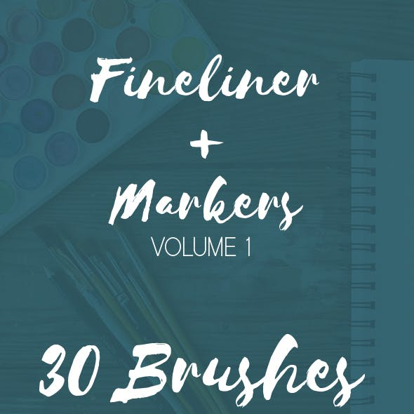 30 Adobe Illustrator Brushes Fineliner Plus Markers