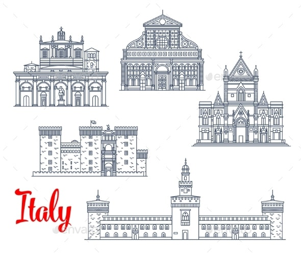 Italy Historic Buildings Architecture Vector Icons - Buildings Objects