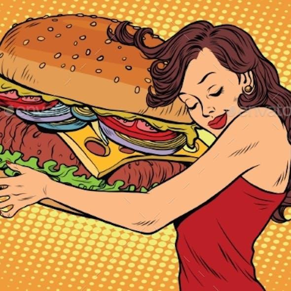 Young Woman Hugging Burger